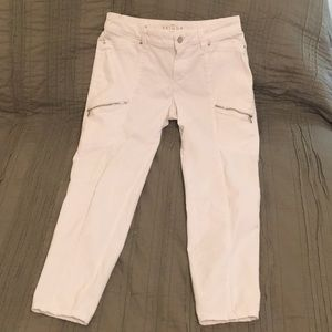White House Black Market cropped white jeans